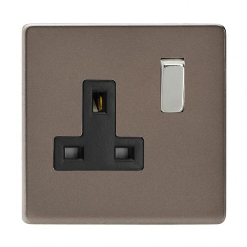 Varilight XDR4BS Screwless Pewter 1 Gang 13A DP Single Switched Plug Socket